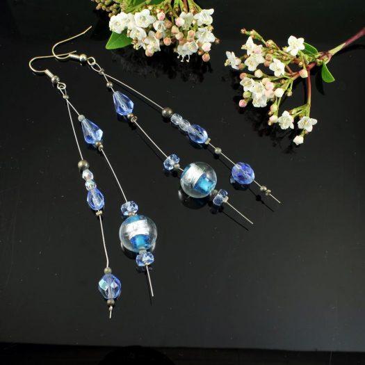 Blue Swarovski Crystal Earrings E-0104-b
