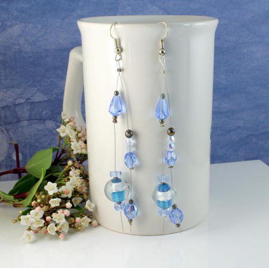 Blue Swarovski Crystal Earrings E-0104-d