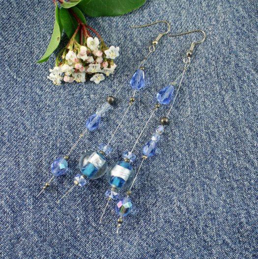 Blue Swarovski Crystal Earrings E-0104-f