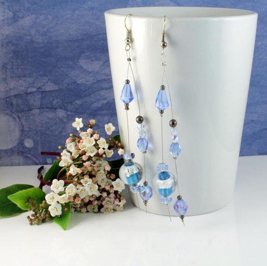 Blue Swarovski Crystal Earrings E-0104-g