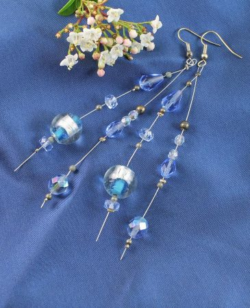 Blue Swarovski Crystal Earrings E-0104-h