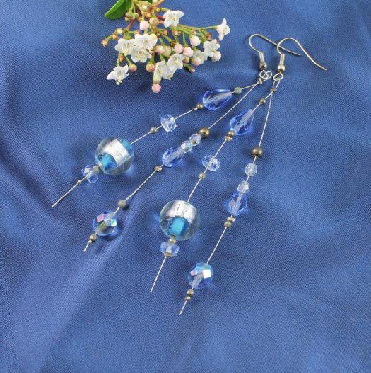 Blue Swarovski Crystal Earrings E-0104-h