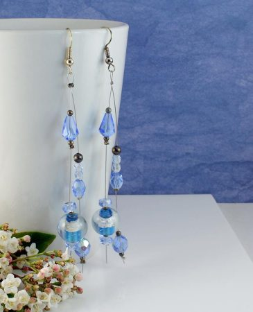 Blue Swarovski Crystal Earrings E-0104-i