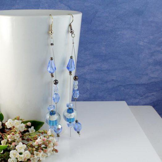 Blue Swarovski Crystal Earrings E-0104-i