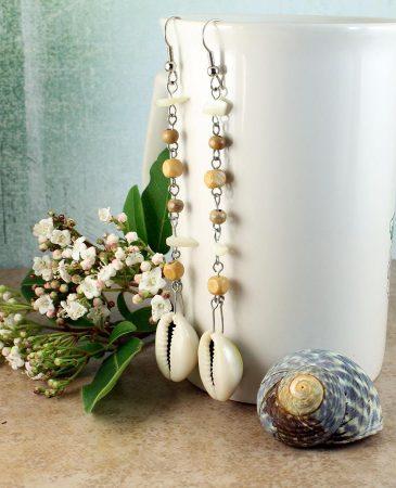 Cowrie Shell Earrings E-0114-i