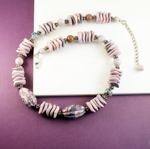 Crazy Lace Agate Necklace N-0124-h