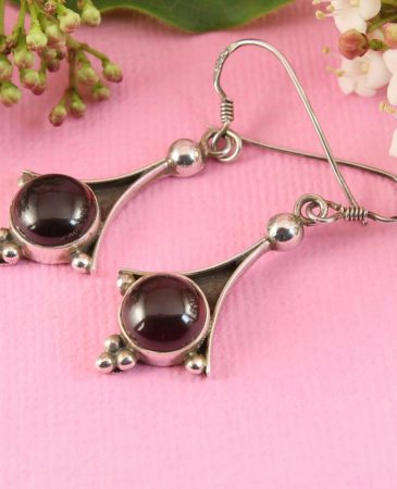 Garnet Drop Earrings E-0188-a