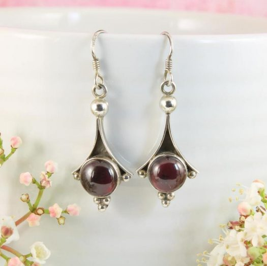 Garnet Drop Earrings E-0188-b