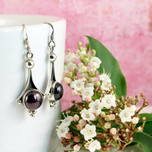 Garnet Drop Earrings E-0188-d