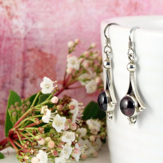 Garnet Drop Earrings E-0188-f