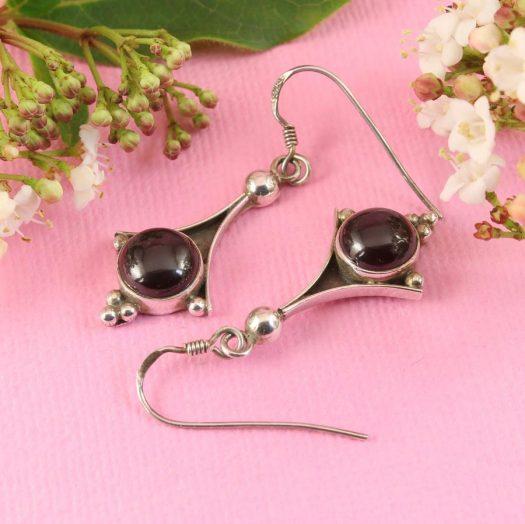 Garnet Drop Earrings E-0188-g