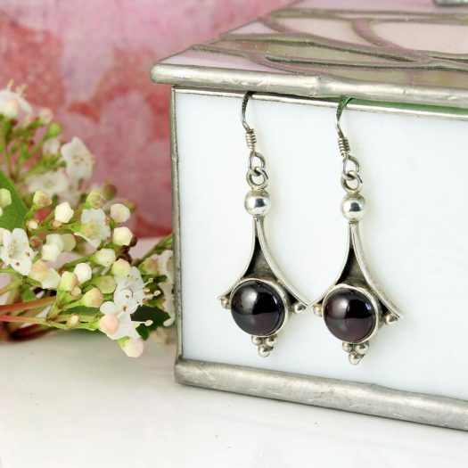 Garnet Drop Earrings E-0188-h