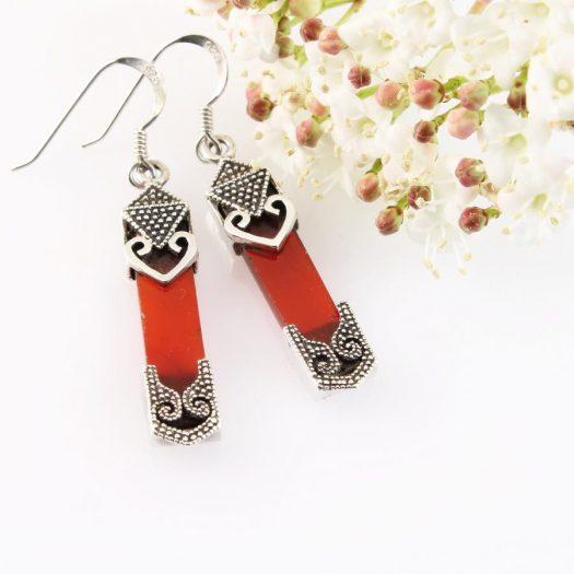 Garnet & Silver Celtic Earrings E-0139-a
