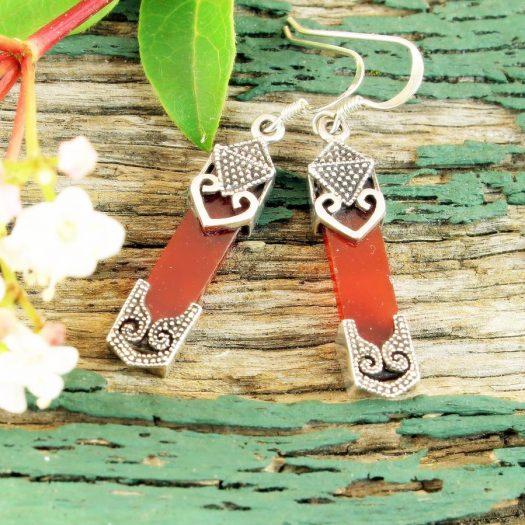 Garnet & Silver Celtic Earrings E-0139-b