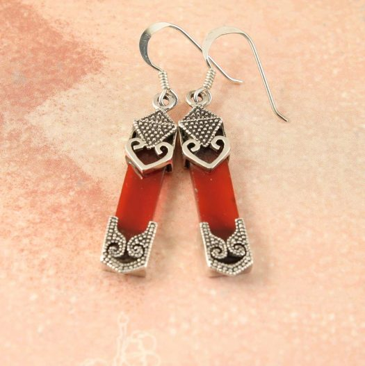 Garnet & Silver Celtic Earrings E-0139-d