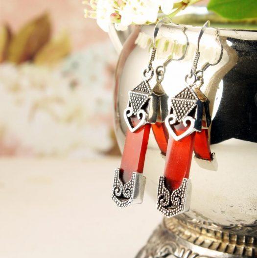 Garnet & Silver Celtic Earrings E-0139-f