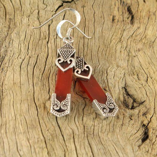 Garnet & Silver Celtic Earrings E-0139-g