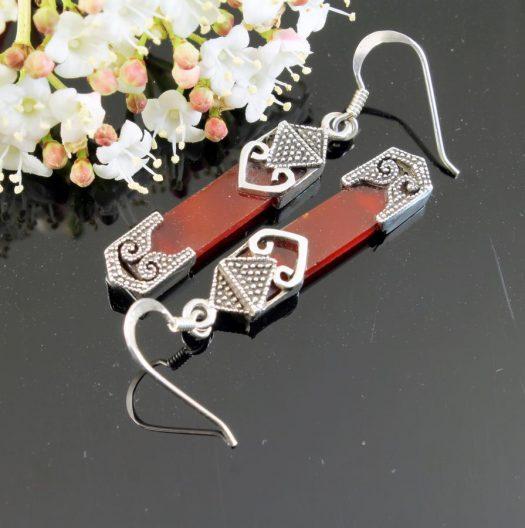 Garnet & Silver Celtic Earrings E-0139-h