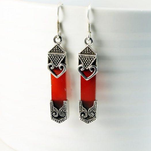 Garnet & Silver Celtic Earrings E-0139-j