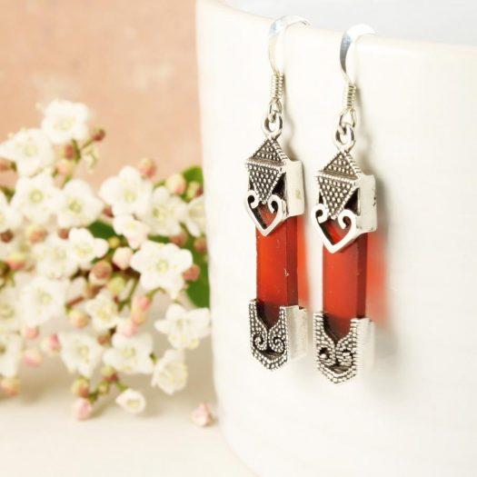 Garnet & Silver Celtic Earrings E-0139-k
