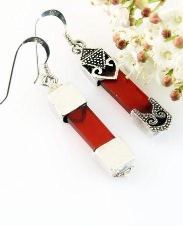 Garnet & Silver Celtic Earrings E-0139-l