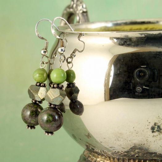 Green Spot Jasper Earrings E-0135-a