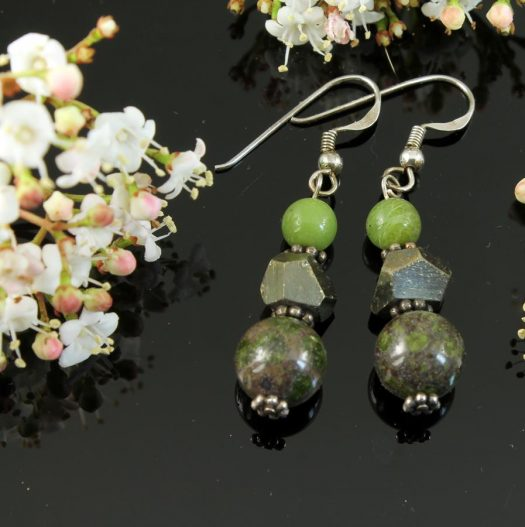 Green Spot Jasper Earrings E-0135-b