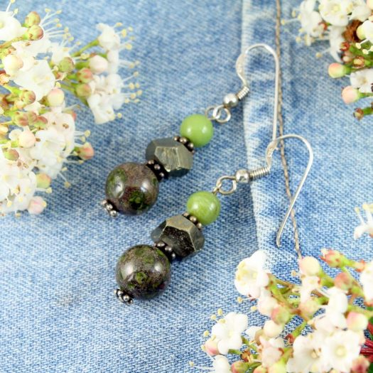 Green Spot Jasper Earrings E-0135-c