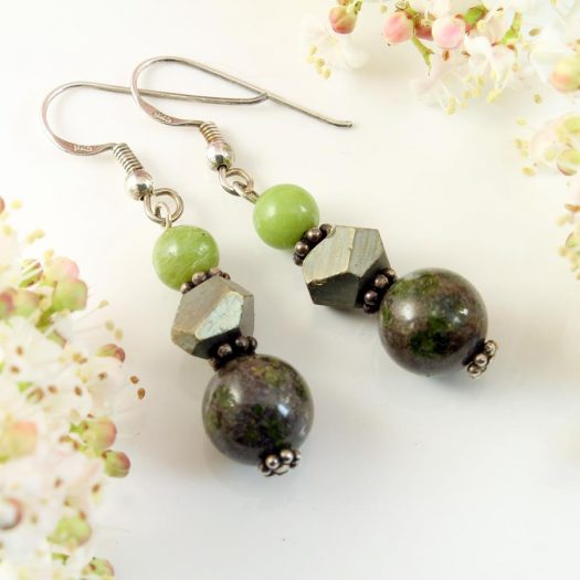 Green Spot Jasper Earrings E-0135-d