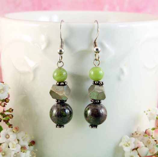 Green Spot Jasper Earrings E-0135-e