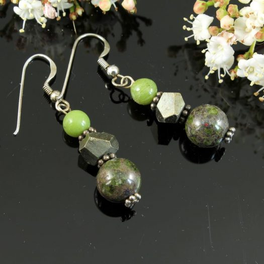 Green Spot Jasper Earrings E-0135-f