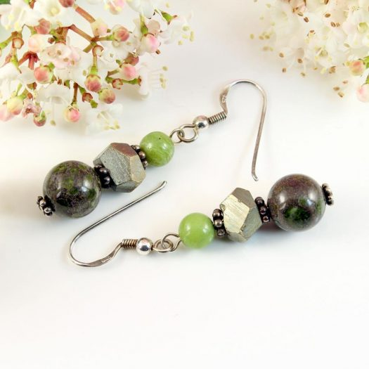 Green Spot Jasper Earrings E-0135-h