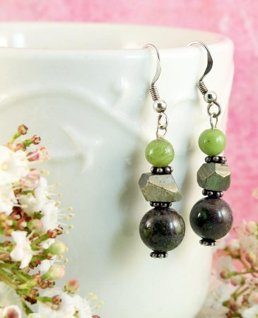 Green Spot Jasper Earrings E-0135-i