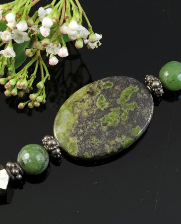 Jasper, Jade, Pyrite Necklace N-0125-a
