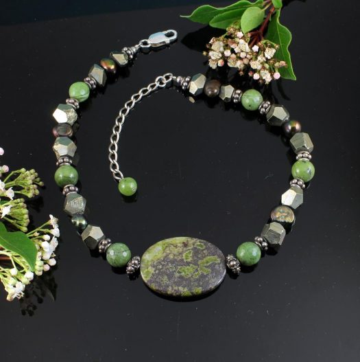 Jasper, Jade, Pyrite Necklace N-0125-b