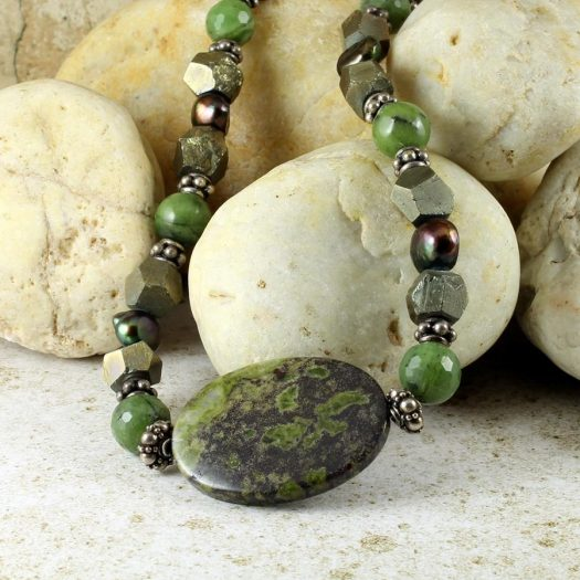 Jasper, Jade, Pyrite Necklace N-0125-c