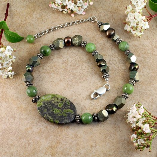 Jasper, Jade, Pyrite Necklace N-0125-d