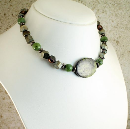 Jasper, Jade, Pyrite Necklace N-0125-f