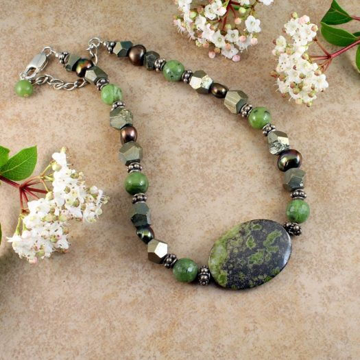 Jasper, Jade, Pyrite Necklace N-0125-g