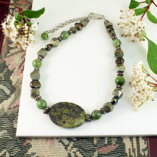 Jasper, Jade, Pyrite Necklace N-0125-h