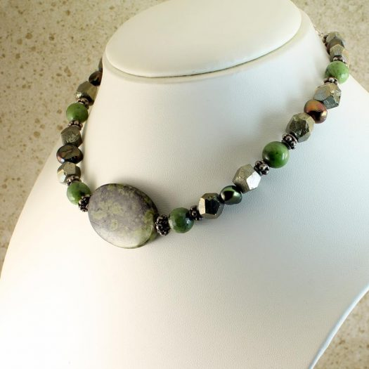 Jasper, Jade, Pyrite Necklace N-0125-i