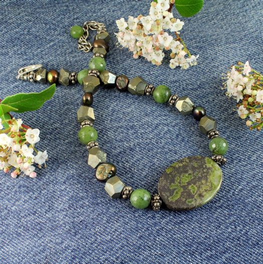Jasper, Jade, Pyrite Necklace N-0125-j