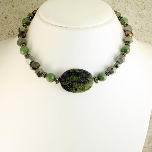 Jasper, Jade, Pyrite Necklace N-0125-k