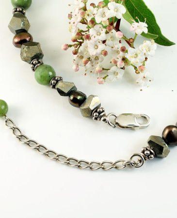 Jasper, Jade, Pyrite Necklace N-0125-l