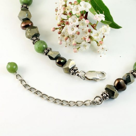 Jasper, Jade, Pyrite Necklace N-0125-l
