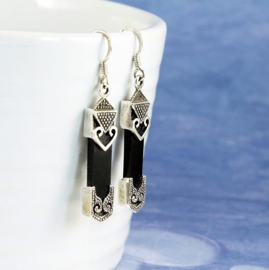 Onyx Celtic Earrings E-0141-d