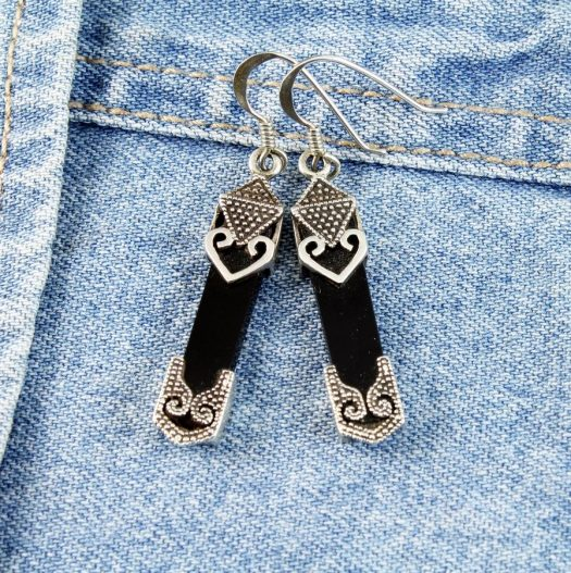 Onyx Celtic Earrings E-0141-f