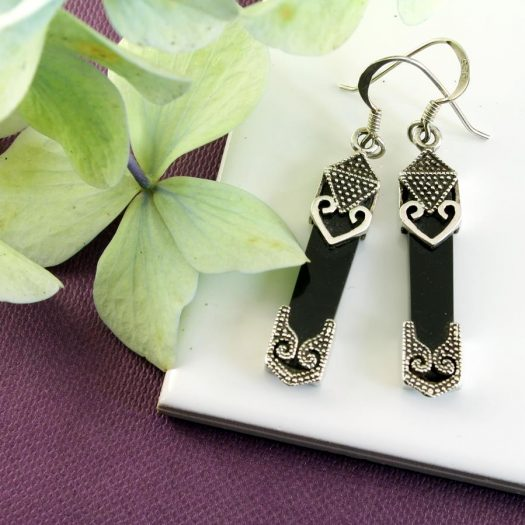 Onyx Celtic Earrings E-0141-g