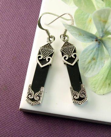 Onyx Celtic Earrings E-0141-i