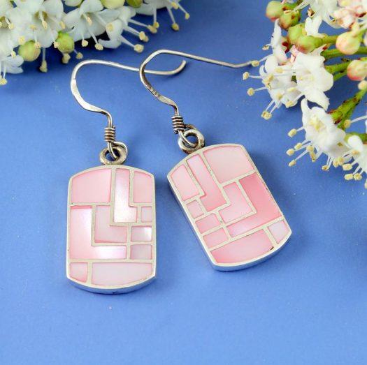 Pink MoP Mosaic Earrings E-0149-a